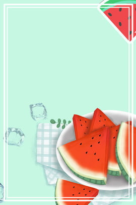 清新八月主題海報 八月 你好 文藝 簡約 邊框 西瓜 餐布 藍色 邊框 , 八月, 你好, 文藝 背景圖片