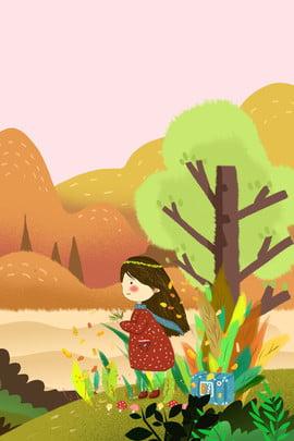 autumn winter illustration 새로운 포스터에 바람 소녀 의상 가을과 겨울 일러스트 레이터 , 스타일, 문학, 소녀 배경 이미지