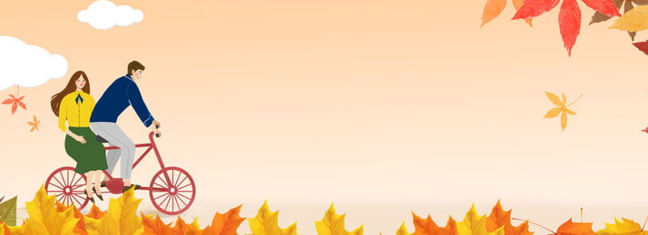 autumn couple cycling tanabata, Banner, Poster, Minimalistic Background Background image