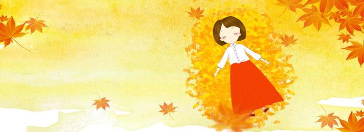 Autumn Hand Painted Girl Banner, Poster, Autumn Background, Autumn Poster, Background image