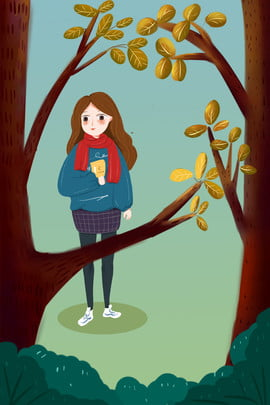autumn woods long haired girl autumn new hand painted , Cartoon, Literary, Display Rack Background image