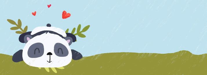 Mão desenhada cartoon fundo de lápis de cor panda na grama Banner Plano de fundo Mão Desenhada Desenho Mão Imagem Do Plano De Fundo