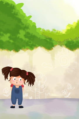 Beautiful And Fresh Hand Drawn Illustration Child Childrens Day, Blue Sky, White Clouds, Cartoon, Background image