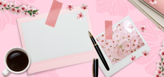 beautiful pink flower branch literary, Card, Pen, Coffee Background image
