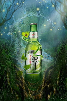 beer bottle forest tree vine flower vine , Water, Creative Synthesis, Green Background image