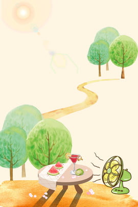 Đầu hè hè ăn dưa hấu thổi quạt nền lixia Đầu hè 24 thuật , Hoang, Ánh, Lượng Ảnh nền