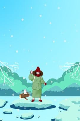 Ngày tuyết rơi mùa đông đứng trên poster băng Lý Đông Tuyết rơi Dày Tuyết Xanh Hình Nền
