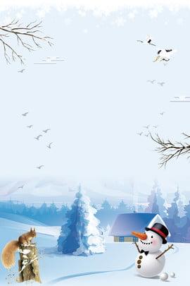 beginning of winter snowman house trees , Snowflake, Fresh, Beautiful Background image