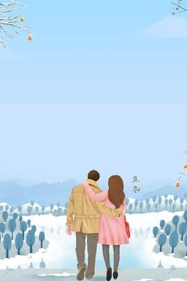 Mùa đông phim hoạt hình tuyết tuyết tuyết nền poster xanh Lý Đông Thuật ngữ Nhẹ Bài đông Hình Nền