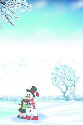 Mùa đông tuyết người tuyết hoạt hình trẻ em nền xanh tải về Lý Đông Thuật ngữ Lý Dày Tuyết Hình Nền