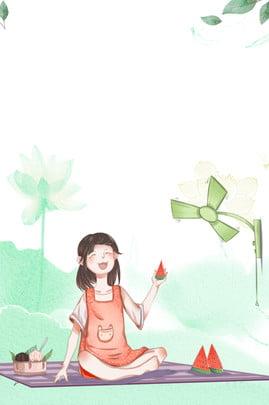 Big Summer Poster Summer Fresh Midsummer, Watermelon, Cartoon Big Summer Poster, Creative Synthesis, Background image