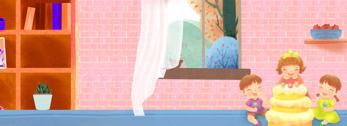 집 축하 어린이 파티 포스터 생일 생일 축하해  파티 어린이 케이크 홈 창문으로 책장 음식, 생일, 생일, 집 축하 어린이 파티 포스터 배경 이미지