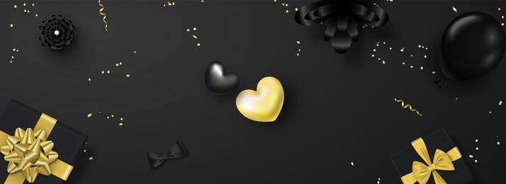 黑色星期五禮盒愛心花朵banner海報 黑色星期五 黑金 禮盒 愛心 花朵, 黑色星期五, 黑金, 禮盒 背景圖片
