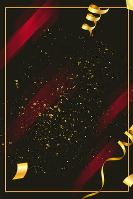 黑色星期五大氣風背景 黑色星期五 幾何背景 紅色幾何 漂浮裝飾 大氣 金色幾何圖形 金粉 金色絲帶 , 黑色星期五, 幾何背景, 紅色幾何 背景圖片