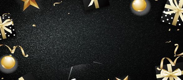 블랙 선물 황금 리본 배너 배경 블랙 선물 금 리본 황금 리본 선물 금속 공 선물, 블랙, 선물, 금 배경 이미지