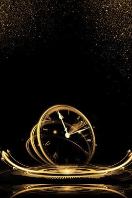 크리 에이 티브 합성 블랙 골드 배경 블랙 금 블랙 골드 배경 시계 합리화 금 분말 크리에이티브 합성 , 골드, 배경, 시계 배경 이미지