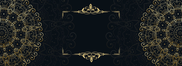 Black Gold Wedding Invitation Card Europe And America, Frame, European And American Flower Type, Dark, Background image