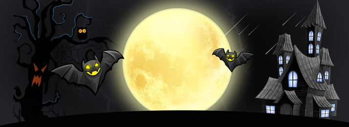 black halloween moonlight poster background bat, Halloween Haunted House, Halloween Black Background, Month Background image