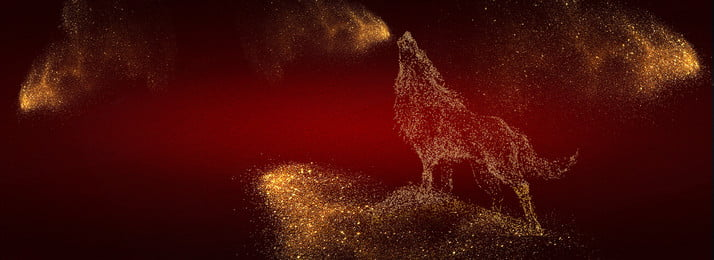 Black Red Atmosphere Sands Wolf, Banner, Wolf, Golden Sand, Background image