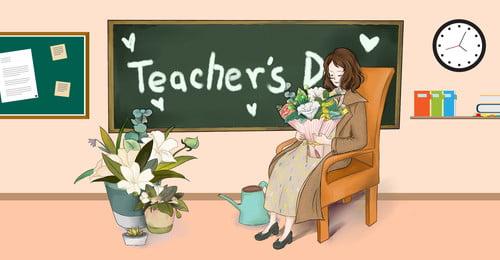 bảng đen phim hoạt hình trẻ em, Học Sinh, Giáo Viên Và Học Sinh, ân Sủng Tình Cảm Ảnh nền