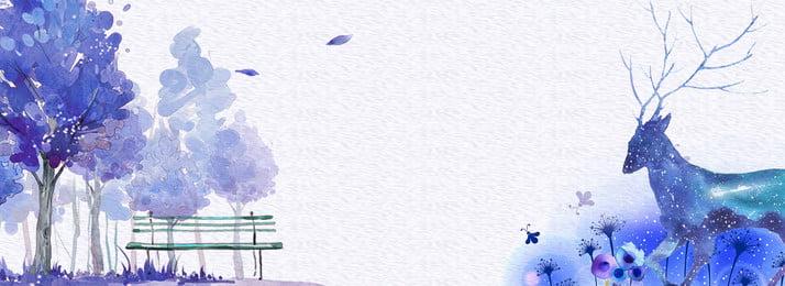 青い手描きの新しいエルクの背景に水彩風秋 ブルー 手描き 水彩風 秋に新 ヘラジカの背景 エルク 木々 パークチェア 小さな花, ブルー, 手描き, 水彩風 背景画像