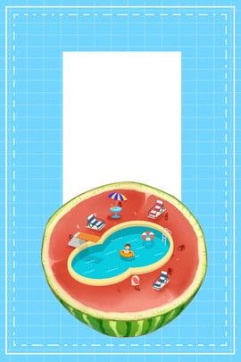 ब्लू प्लेड समर सोलस्टाइस फ्रेश पोस्टर नीला स्विमिंग पूल ग्रिड तरबूज़ छत्र ग्रीष्मकालीन संक्रांति छुट्टी ताजा , शांत, हाथ, पूल पृष्ठभूमि छवि