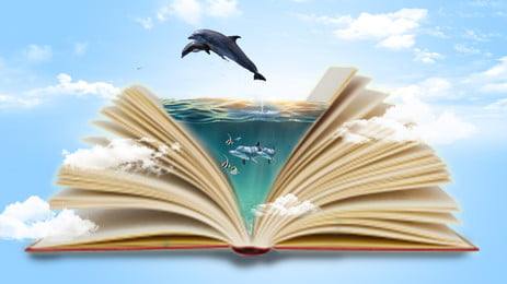 Book Poster Background Creative Synthesis, Ocean, Dolphin, Ocean Of Knowledge, Background image
