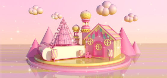 C4d Scene Dream Sweet Candy Colors Fantasy Pink, Pink Background, Sweet Candy Color, Net Red Powder, Background image