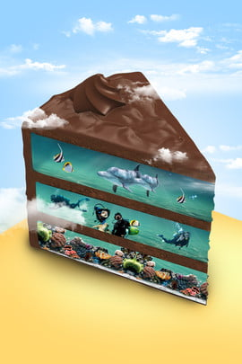 cake dessert underwater world blue sky , Creative Synthesis, Poster, H5 Background image