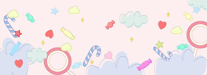 Fundo de cartaz banner rosa Doces Muletas Pirulito Cloud Estrela Quatro cantos Pink Banner Poster Bonito Simples Doces Muletas Pirulito Imagem Do Plano De Fundo