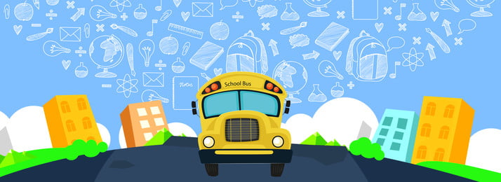 cartoon child childlike education, Training, School Season, School Bus Background image