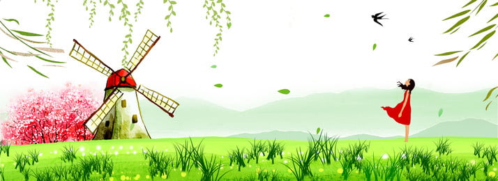 Cartoon Green Beginning Of Spring Spring, Swallow, 24 Solar Terms, Poster, Background image