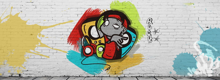 cartoon hip hop photo wall wall painting, Color Wall Painting, Hand Painted, Punk Background image