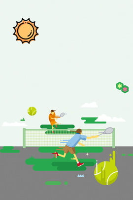 cartoon national fitness motion tennis , Sun, Health, Mbe Style Background image
