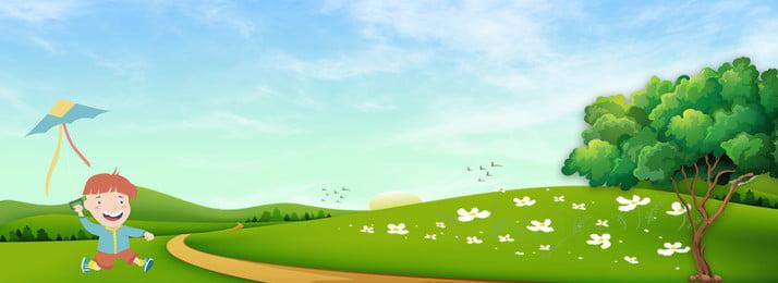 春の漫画かわいい背景イラスト 漫画 春 木々 こども 凧 グラスランド 花 空 可愛い 晴れ 漫画 春 木々 背景画像