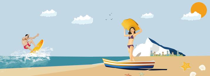 Cartoon phong cách vẽ tay bãi biển đảo nhân vật minh họa cảnh quan Phong cách hoạt Hoạt Tay Bãi Hình Nền