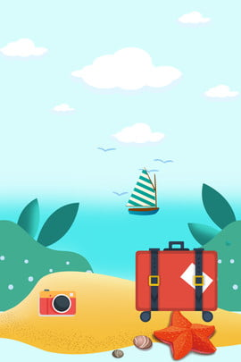 卡通夏季旅行畢業旅遊藍色背景 卡通 夏季 旅行 畢業 旅遊 藍色背景 行李箱 照相機 水草 沙灘 卡通 夏季 旅行背景圖庫