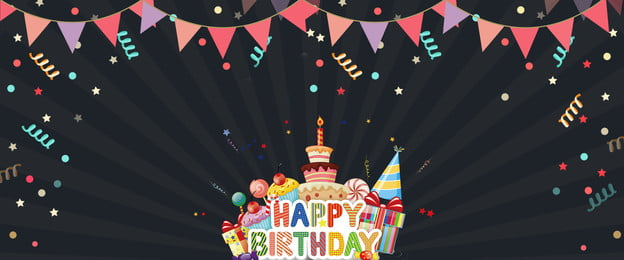 Cartoon Wind Birthday Party Happy Birthday, Bunting, Lovely, Poster, Background image