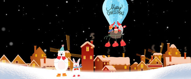 cartoon wind christmas merry christmas christmas eve, Christmas Village, Lovely, Korean Illustration Background image