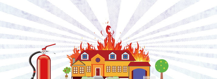 Cartoon Wind Fire Extinguisher Houses Simple, On Fire, Houses, Fire Safety Promotion, Background image