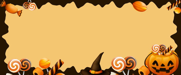 cartoon wind halloween carnival candy, Pumpkin, Yellow, Food Background image