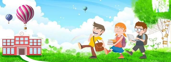Cartoon Wind Illustration Lovely Child, Hot Air Balloon, Blue Sky And White Clouds, Green, Background image