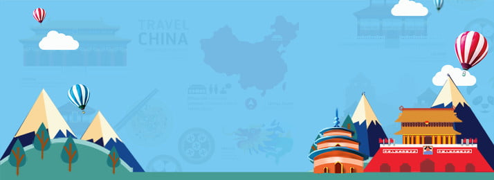 cartoon wind tourism china travel tiananmen square, Temple Of Heaven, Hot Air Balloon, Poster Background image