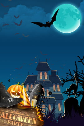 castle halloween illustration background halloween poster holiday material , Pumpkin Lantern, Pumpkin Street Sign, Bat Background image