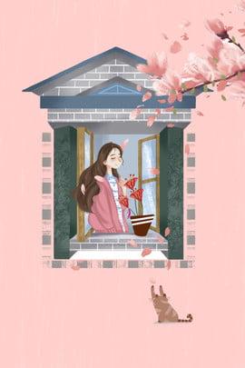 window cherry blossom girl romantic minimalistic illustration wind poster bunga ceri dengan tingkap gadis haiwan bunga , Bunga, Jatuh, Romantik imej latar belakang