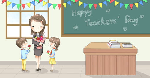 hình minh họa màu nước ngày của giáo viên Đứa trẻ nhân vật, Ngày, Xúc, Lớp Ảnh nền
