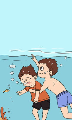 Child Safety Education Drowning Hand Painted Cartoon, Illustration, Children Swimming, Falling Water, Background image