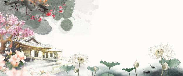 中國風古風唯美水彩荷花古典建築海報 中國風 古風 唯美 水彩 荷花 古典 建築 梅花 手繪 海報, 中國風古風唯美水彩荷花古典建築海報, 中國風, 古風 背景圖片