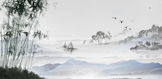 中國風水墨山水畫背景 中國風 中國風水墨 古典 古風 唯美 山水 水墨 梅花 水墨畫 海報, 中國風水墨山水畫背景, 中國風, 中國風水墨 背景圖片