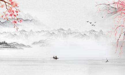 中国風の風景画の背景 中華風 クラシック 古代のスタイル 古風な背景 中国絵画 インク 水彩画 花 花 中国風の背景画像 中国風の風景画の背景 中華風 クラシック 背景画像